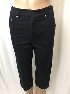 Womens Jones New York Sport Capri Pants Size 2P Cotton Black Crop Stretch