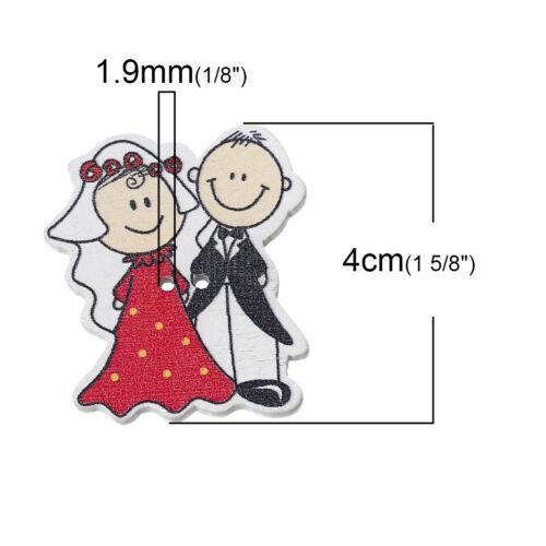 free p/&p 10 bois fantaisie couleurs mélangées mariée et marié à coudre craft boutons 4cm