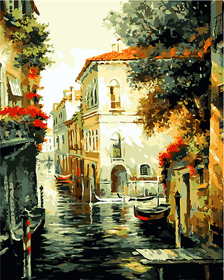 "16x20"" DIY Acrylic Paint By Number kit Oil Painting On Canvas Town Scenery 555"