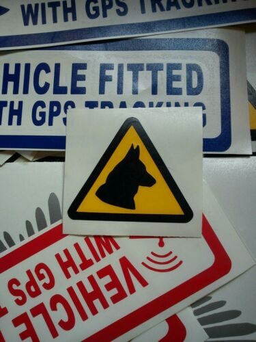 s407 6 x SMALL CAUTION DOG WARNING TRIANGLE CAUTION STICKERS