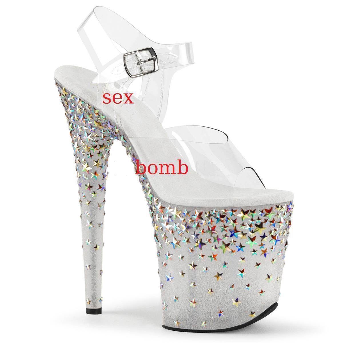 Sexy Sandalen Sterne Absatz 20 plateau von 35 bis 42 Silber Eis transparent    | Online einkaufen