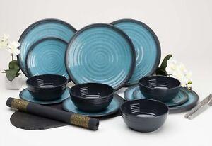 Outdoor-Dining-diner-Set-Melamine-plates-Bowls-Camping-Picnic-Crockery-Aqua-NEW