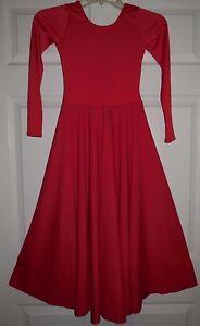 NWOT Dance Red Long Sleeve Spandex Full Circle Praise Dress Adlt//Ch Szs 76176