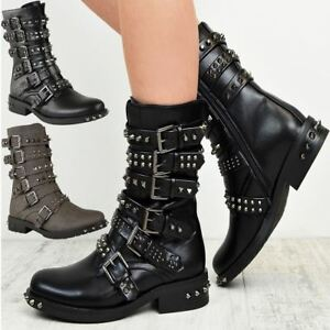 48f7c46ee956 Image is loading Womens-Ladies-Studded-Ankle-Boots-Buckle-Western-Biker-