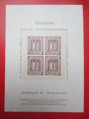 20 Zu 1 1/4 Schilling 1866 Klug Neudruckblock Mit Hamburg Nr