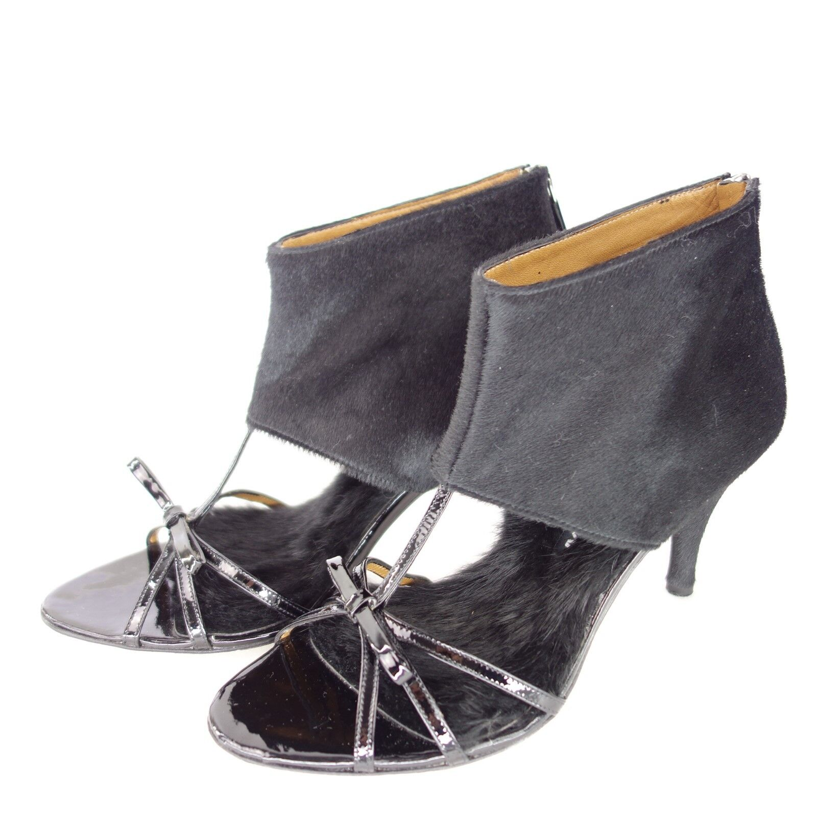 MUXART Lackleder Damen Sandaletten Schuhe MARTA Schwarz Leder Lackleder MUXART Fell NP 289 NEU efe98a