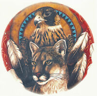 Ceramic Decals Southwest Native American Cougar Hawk Feather Collage 7.5 Inch