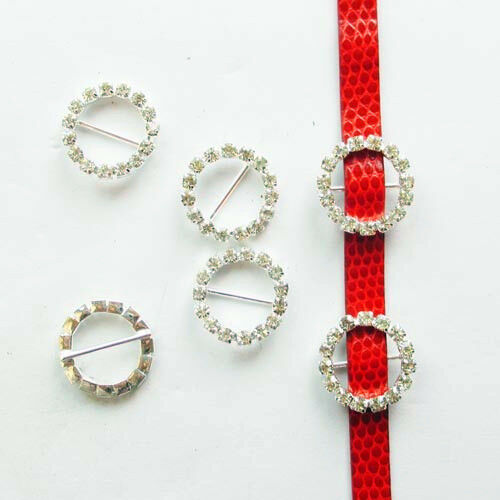 50Pcs 20mm Round Crystal Rhinestone Ribbon Slider Buckles Wedding Invitations