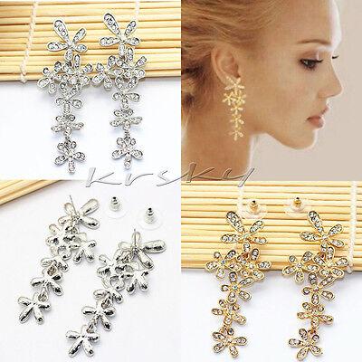 Fashion Women Crystal Rhinestone Long Snowflake Flower Dangle Earrings Ear Stud