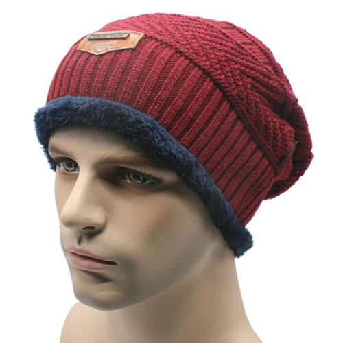 Men Soft Lined Thick Wool Knit Skull Cap Warm Winter Slouchy Beanies Hat