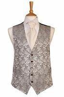 SILVER PAISLEY WEDDING DRESS SUIT WAISTCOAT ALL SIZES CHRISTMAS XMAS PRESENT