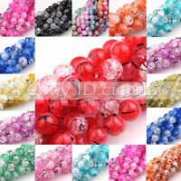New 100x 6mm 50x 8mm 15x 10mm Marble Effect Glass Drawbench Beads Colour Choice