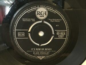 Elvis-Presley-It-039-s-Now-Or-Never-7-034-Vinyl-Single-1960-RCA-1207-REF-7264