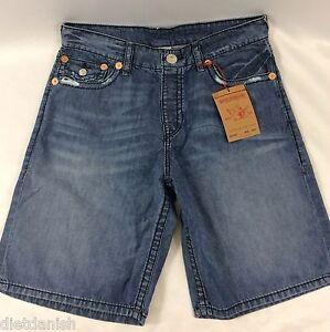 True-Religion-Men-039-s-Jeans-Shorts-Denim-Blue-Inseam-11-Venice-TMS18VE-Size-30