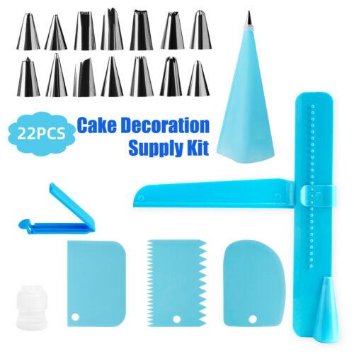 22Pcs Cake Baking Decorating Supplies Kit Set Icing Bag Nozzle Tips Cupcake Tool