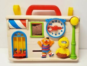 RARE Vintage Preschool Sesame Street Nursery Illco Play Crib Busy Box Big Bird