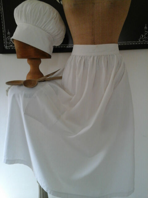 VINTAGE Francese Bianco Homespun Grembiule-Cameriera di tessuto di cotone tessile Pinny in ritardo c20th