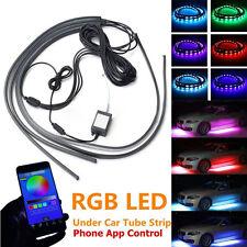 4x RGB 5050LED Neon Auto Tube Streifen Licht Unterboden Musik App System Kit 12V