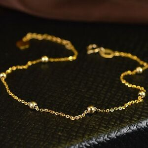 New-Pure-18K-Yellow-Gold-Fine-O-Link-2-5mm-Beads-Chain-Woman-Lucky-Anklet-10-2-034-L