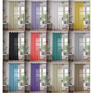 Solo-Panel-Ojal-Top-Voile-Cortina-Polo-cana-de-bolsillo-llano-Colores-Puerta-Ventana