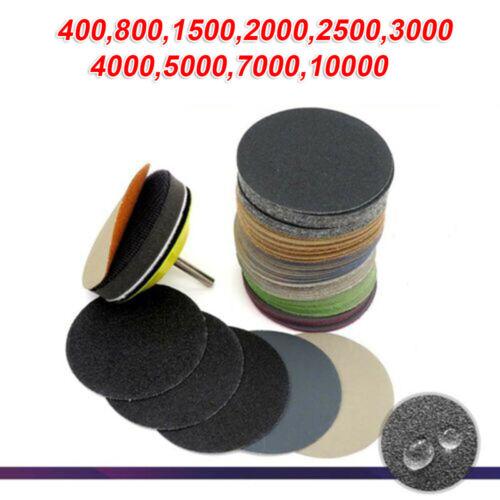 """50Pcs Set 3 /"""" Schleifscheibe 75mm Nass-//Trocken Flocken Sandpapier 400-10000"""