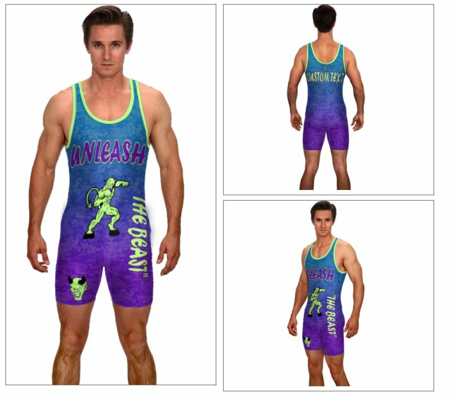Unleash the beast, digital camo powerlifting singlet, includes custom text