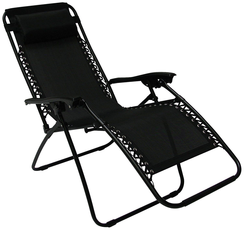 Silla Reclinable Jardín Cámping Tumbona Reclinable relajador  de gravedad cero (negro)  Con precio barato para obtener la mejor marca.