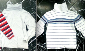 LANDS/' END Gray 5-6 CARTER White Blue STRIPED 3T TURTLENECK Knit Shirt Sweater