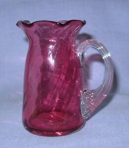 vtg-Cranberry-Glass-pitcher-small-3-5-034-ribbed-handle-ruffled-rim-Pilgrim-Fenton
