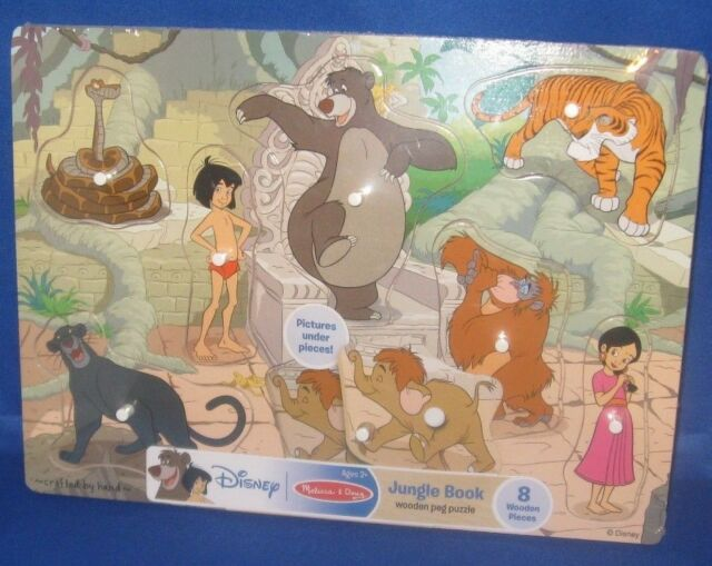 Disney Melissa Doug Jungle Book Wooden Peg Puzzle 8 Character Pieces New