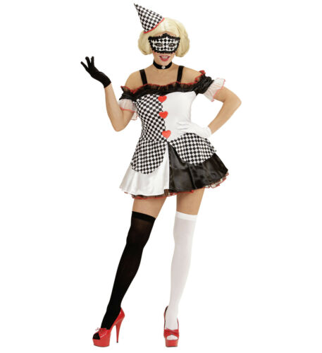 Kostüm Pierrot Harlekin schwarz weiß 2-teilig Damen Kleid und Hut Raute Karneval