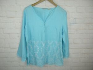 Tweeds-Women-039-s-Size-L-100-Linen-Bright-Blue-and-White-Embroidered-Tunic-Top