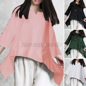 Elegant-Femme-Chemise-Coton-Loose-Col-Rond-Shirt-Manche-Longue-Asymetrique-Plus