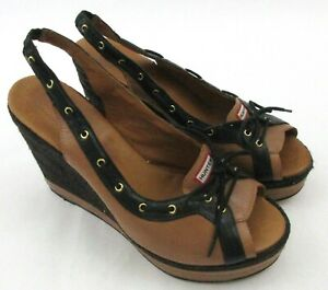 Hunter-Abaco-Wedge-Slingback-Espadrille-Shoes-Tan-Black-Leather-Jute-Peep-Size-8
