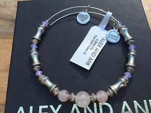 c4a7fac2cd4f5 Details about NWT ALEX and ANI ROSE QUARTZ GEMSTONE Beaded Russian SILVER  Bangle Bracelet