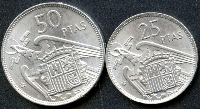 1957 Spain 50 Pesetas & 25 Pesetas Coins