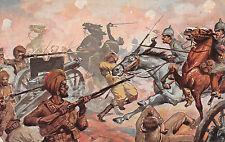 Patriotika Werbepostkarte, Underberg-Serie, dt. Kavallerie mit engl. Geschützen