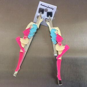 Sexy-POLE-DANCER-Earrings-LASER-CUT-Acrylic-STATEMENT-Mirror-STRIPPER-Large-11cm