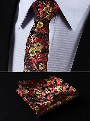 "TF2005N5 Orange Brown Floral 2.17"" Silk Slim Narrow Men Handkerchief Necktie"