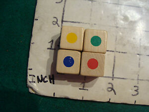 original vintage dice: 4 dice with colored circles on each side, wooden