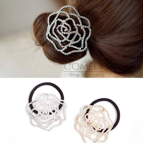 Crystal Rose Flower Hairband Ponytail Holder Hair Tie Rhinestone Accessories NEW