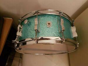 """Ludwig Keystone X (maple/chêne Shell) 14 X 6.5"""" Snare Drum Dans Turquoise Paillettes-afficher Le Titre D'origine Ventes Pas ChèRes 50%"""