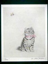 """Farbige Radierung von Meta Plückebaum """"Bsss"""" Katze beobachtet eine Hummel"""