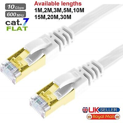 1M 2M 3M 5M 10M 15M 20M RJ45 Cat7 Ethernet Network LAN SSTP Gigabit Cable Lot UK