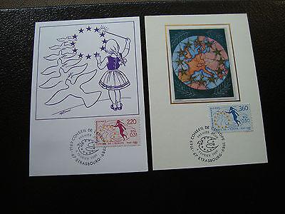 cy6 briefmarke Dienst Französisch Niedriger Preis Tag 4/2/1989 Frankreich - 2 Karten 1