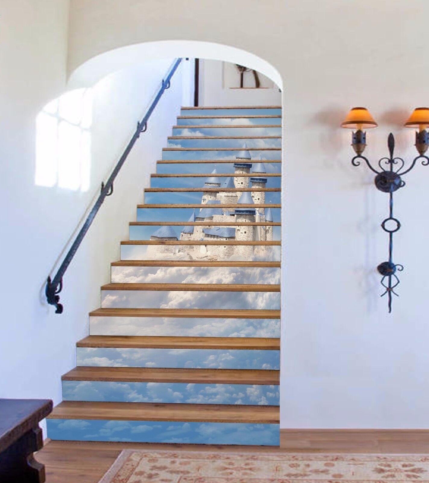 3D Castle Cloud 836 Stair Risers Decoration Photo Mural Vinyl Decal Wallpaper AU