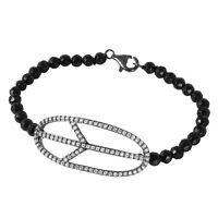 925 Sterling Silver Ladies Piece Sign Bracelet W/ Beads & 2 Ct Diamonds/ 7''