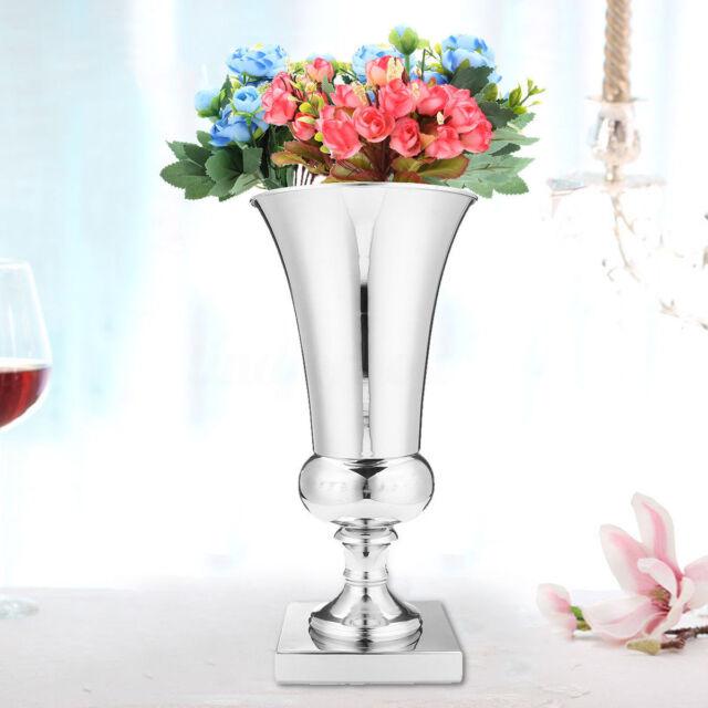 225 & 43CM Large Stunning Silver Iron Luxury Flower Vase Urn Wedding Table Silver