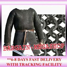 CHAINMAIL SHIRT - XXL-FULL SLEEVE FLAT RIVETED MEDIEVAL HAUBERGEON ARMOUR y1