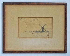 Framed-Landscape-Drawing-amp-Sheep-John-Henry-Vanderpoel-1857-1911-Dutch-American